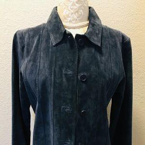 Jackets & Blazers - Margaret Godfrey blue leather jacket size 10 NEW